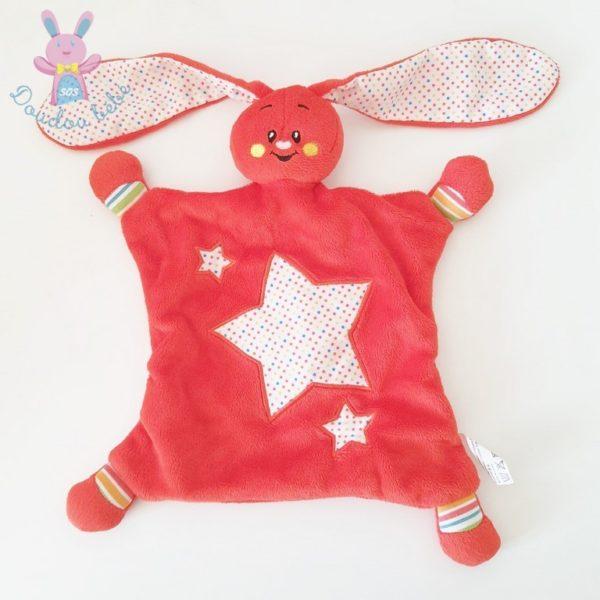 Doudou plat Lapin rouge étoiles AUCHAN