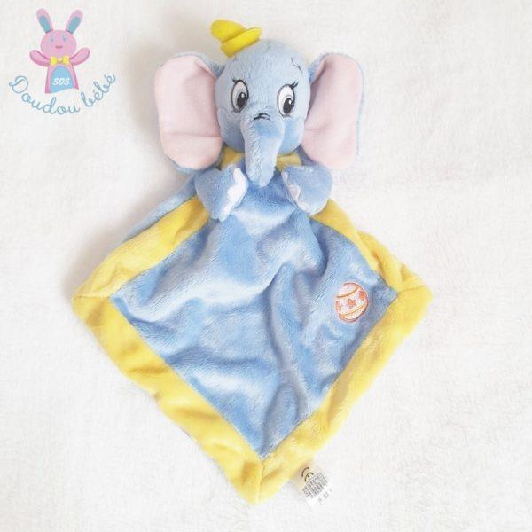Doudou plat éléphant Dumbo bleu jaune DISNEY