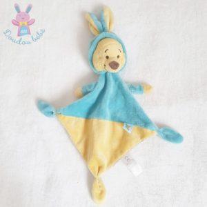 Doudou plat Winnie déguisé en Lapin bleu jaune DISNEY