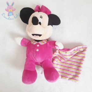 Doudou Minnie rose fuchsia mouchoir rayé 34 cm DISNEY
