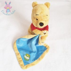 Doudou Winnie mouchoir bleu pot de miel abeille 25 cm DISNEY