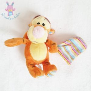 Doudou Tigrou orange jaune mouchoir rayé 20 cm DISNEY