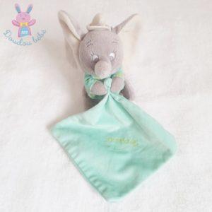 Doudou éléphant Dumbo gris mouchoir vert luminescent DISNEY