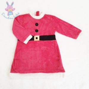 Robe de Noël velours rouge et blanc fille 2 ANS