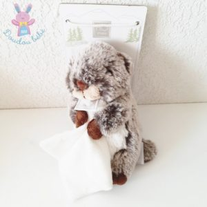 Doudou Marmotte marron mouchoir blanc 15 cm HISTOIRE D'OURS