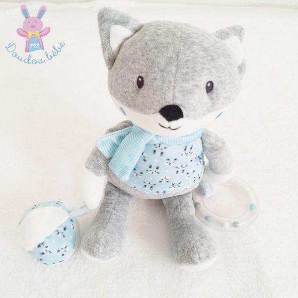 Doudou Renard bleu gris jouet bébé POMMETTE