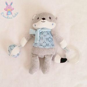 Doudou Renard bleu gris blanc jouet éveil bébé POMMETTE