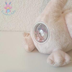 Doudou Cygne fourrure rose jouet d'éveil bébé TEX