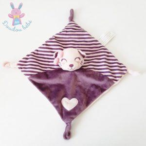 Doudou plat Chat rayé violet et rose cœur KIMBALO