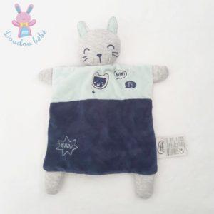 Doudou plat Chat blanc bleu gris Mini BB Bhou MOTS D'ENFANTS