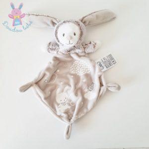 Doudou plat Ours / Lapin beige blanc luminescent MOTS D'ENFANTS