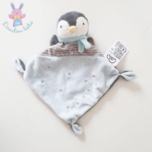 Doudou plat Pingouin bleu gris MOTS D'ENFANTS