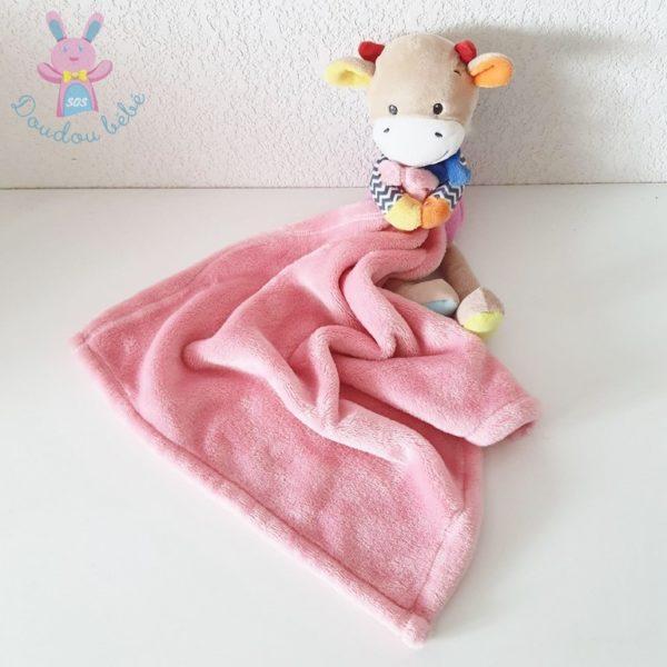 Doudou Girafe vache couverture rose NICOTOY SIMBA