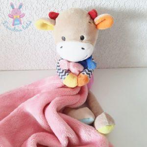 Doudou Girafe vache multicolore couverture rose NICOTOY SIMBA