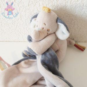 Doudou éléphant Bao couverture bleu gris NOUKIE'S