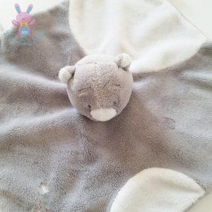 Doudou plat Ours Nouky gris blanc étoiles attache tétine NOUKIE'S