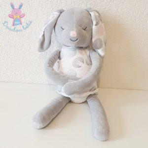 Doudou Lapin gris rose et blanc robe 40 cm OBAIBI