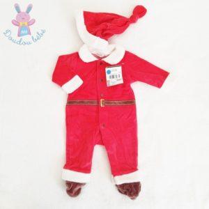 Pyjama tenue de Noël rouge et blanc + Bonnet bébé 3 MOIS