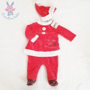 Pyjama tenue de Noël rouge et blanc + Bonnet bébé fille 6 MOIS