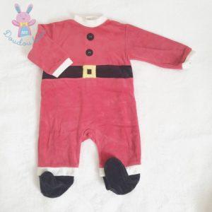 Pyjama velours de Noël rouge et blanc bébé 9 MOIS