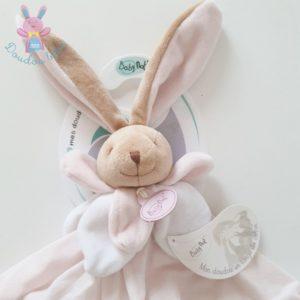 Doudou plat Lapin lange de coton rose beige et blanc BABY NAT