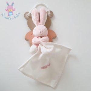 Doudou Lapin rose et blanc mouchoir blanc BABY NAT