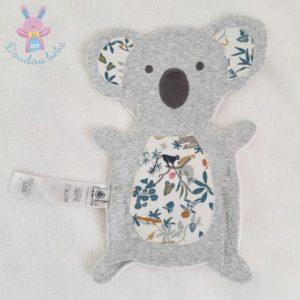 Doudou plat Koala gris blanc feuilles animaux PETIT BATEAU