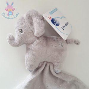 Doudou éléphant mouchoir gris étoiles pois argent MOTS D'ENFANTS