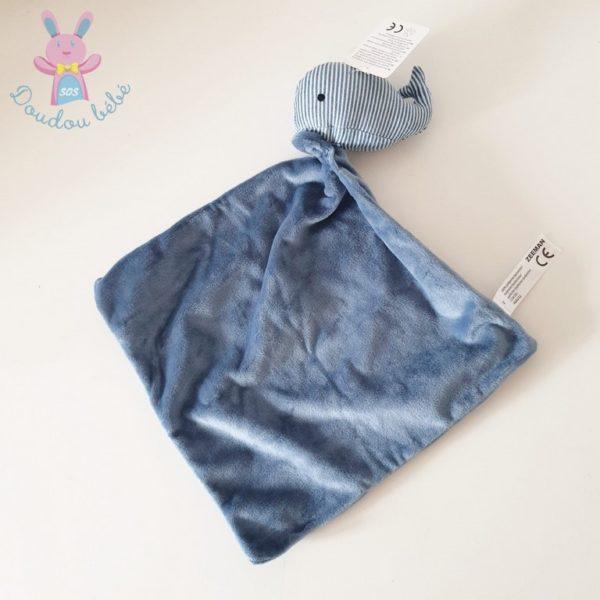 Doudou Baleine grelot rayé bleu ZEEMAN