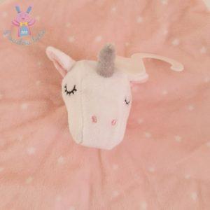 Doudou plat Licorne rose blanc étoiles PRIMARK