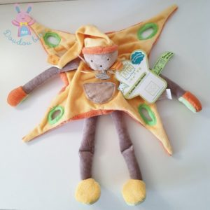 Grand lutin jaune orange marron Tatoo DOUDOU ET COMPAGNIE