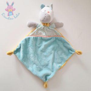 Doudou plat Girafe bleu blanc jaune triangles MOTS D'ENFANTS