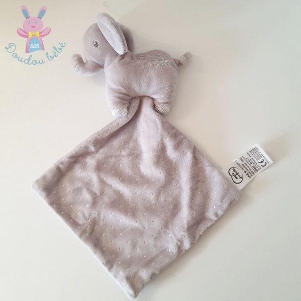 Doudou éléphant mouchoir gris argent MOTS D'ENFANTS