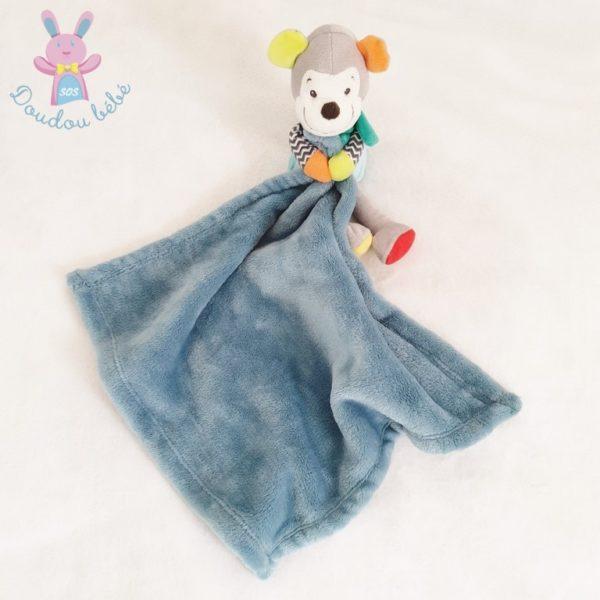 Doudou Singe multicolore couverture bleu NICOTOY SIMBA