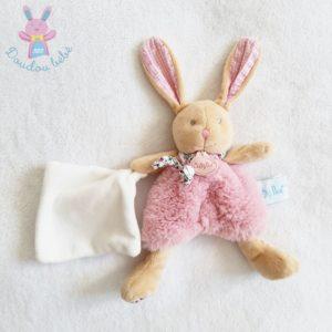 Doudou Lapin Poupi rose beige fleurs mouchoir blanc BABY NAT