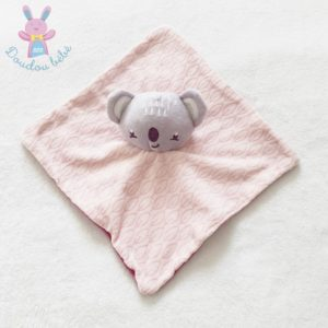Doudou plat Koala rose violet gris SIPLEC LECLERC