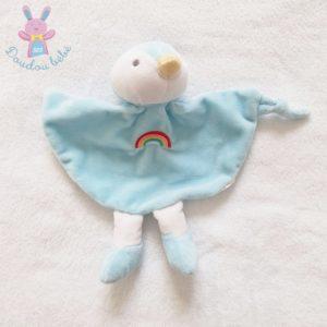 Doudou plat Canard Oiseau Pingouin bleu arc en ciel TOM & KIDDY