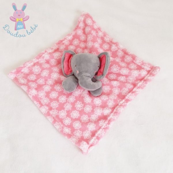 Doudou plat éléphant gris rose BABYGRO