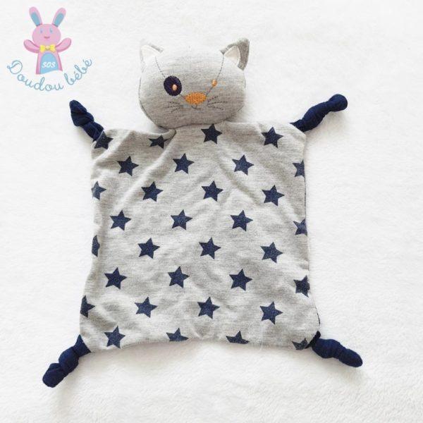 Doudou plat Chat gris marine étoiles TAPE A L'OEIL