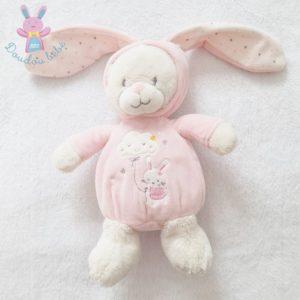 Doudou Ours déguisé en lapin blanc rose nuage étoiles MAX  & SAX
