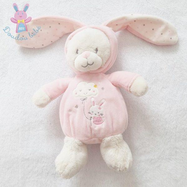 Doudou Ours déguisé en lapin rose blanc MAX & SAX
