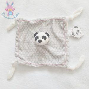 Doudou plat Panda gris blanc noir fleurs Carré Blanc