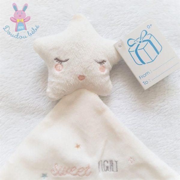 "Doudou plat étoile mouchoir blanc ""Sweet night little dreamer"" SIMBA"