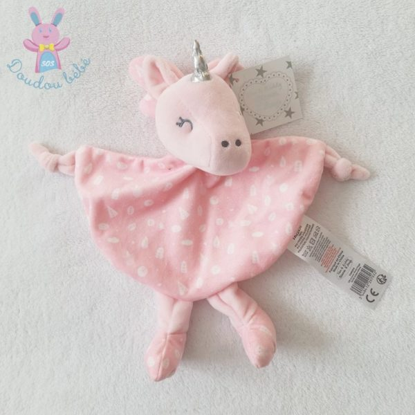 Doudou plat Licorne rose TOM & KIDDY