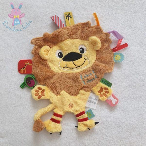 Doudou plat Lion étiquettes LABEL LABEL