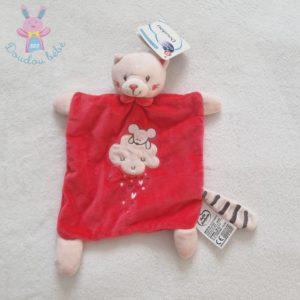 Doudou plat Chat rose souris nuage cœurs MOTS D'ENFANTS