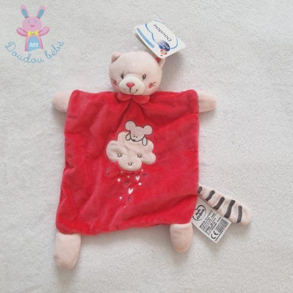 Doudou plat Chat rose MOTS D'ENFANTS