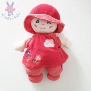 Doudou poupée chiffon rouge robe fleurs chapeau QUE DU BONHEUR