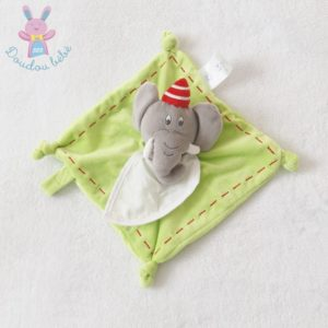 Doudou plat éléphant bavoir blanc à broder vert gris DMC