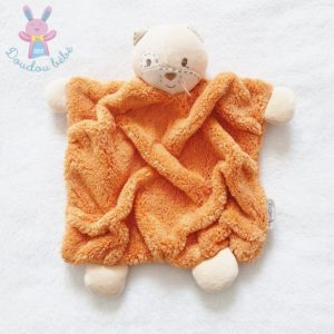 Doudou plat Chat beige orange plume KALOO